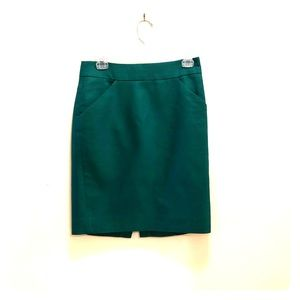 Size 0 J. Crew pencil skirt, kelly green